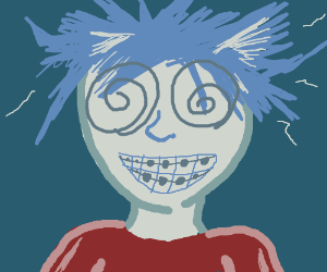 Pale boy with braces has his hair electrocuted