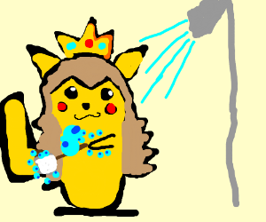 Peach Pikachu washes with a rag on a stick