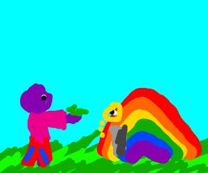Purple dude gives money to elderly rainbow.