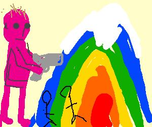 purple giant shoots a rainbow mountain