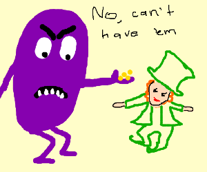 purple meanie tempts leprachaun