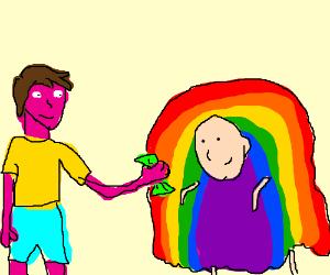 Violet guy giving money rainbow man