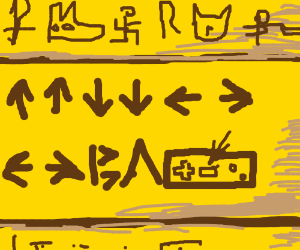 Hieroglyphics telling you how to beat contra