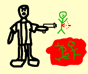 Convict shoots green people