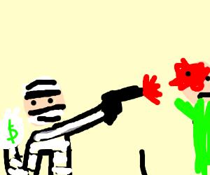 Bank Robber shoots Banker holding money bag