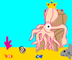 King Squid looks down on his subjects. Hail!