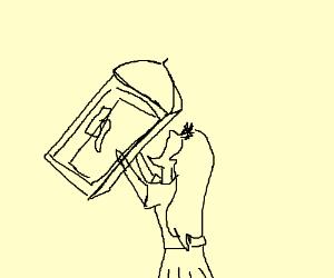 Woman eats a payphone