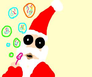 Santa Klaus Blowing LSD Bubbles