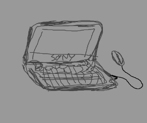 Black and white sketch of a computer