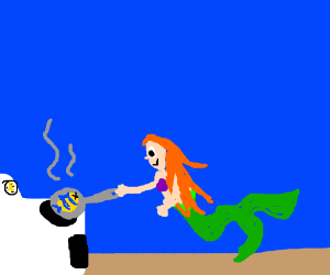 Ariel cooks breakfast in the shape of a fish