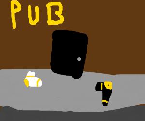 Black sock and white sock infront of pub