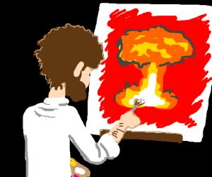Bob Ross paints nuclear explosion