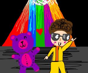 teddybear in love with disco guy