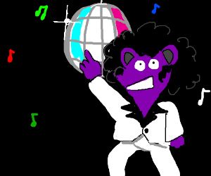 Disco dancing with a purple teddy.