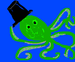 Tranny green octopus with a tophat