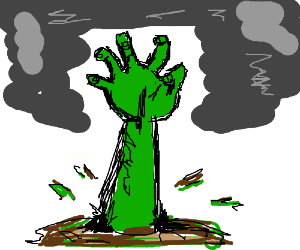 Zombie arm rises from ground, repels smoke