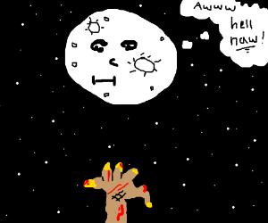 Beneath the full moon, a zombie rises...