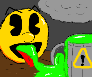 PAC-MAN is sent to eat radioactive waste