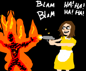 Mom shoots burning man and laughs maniacally