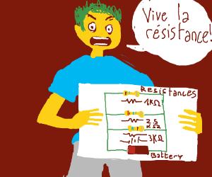 Vive la resistance shouts man holding equation
