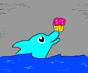 Dolphin balancing a cupcake on the nose!