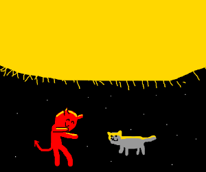 Satan and his cat under the sun