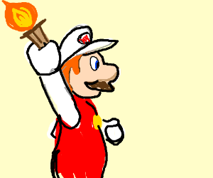 Fire Mario carries the Olympic Flame.
