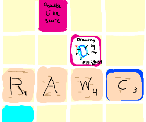 Drawception concepts in a Scrabble game.