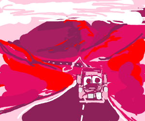 pinkie tow truck is driving through mountains