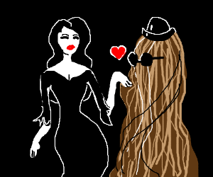 Cousin It and Morticia are in love, uh oh.