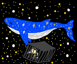 Cosmic whale drags caged scuba space man along