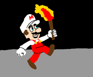 Fire Mario carries in the tourch