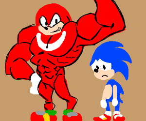 Knuckles takes steroids as Sonic looks sad