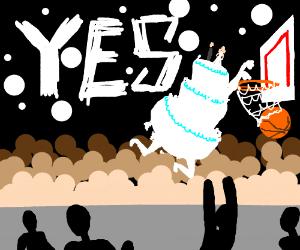 Is that a wedding cake playing basketball? O_o