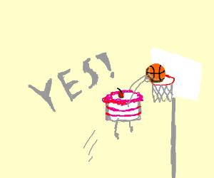 A cake dunks a basketball, YES