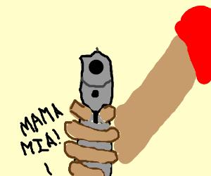 Mario stares down a bullet