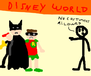 Batman, Robin, and BatGirl go to Disney World.