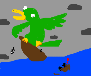 Pirates abandon ship due to giant parrot!