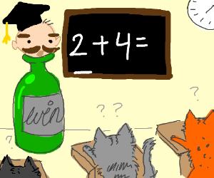 A head on a bottlenack teaches Kitties maths