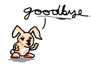 A pink bunny says goodbye in cursive