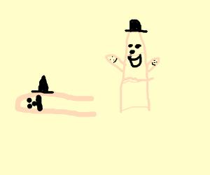 Finger face loses again, his hat wobbles