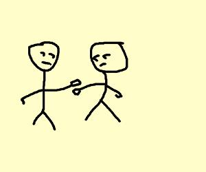 'damn you' as handshake misses