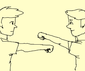 Two guys with one fist over the others fist