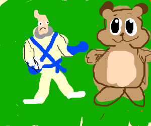 Earthworm Jim fighting a giant hamster.