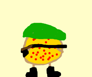 A pizza joins the army.