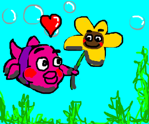 A little fish and a flower in love.