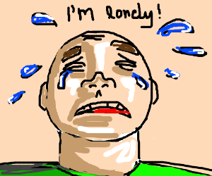 lonely man cries because no friends