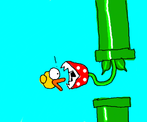 flappy bird gets eaten by plant from Mario