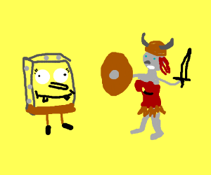 Spongebob and some sort of lady robot viking