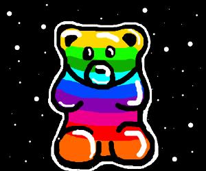 Rainbow gummy bear in space